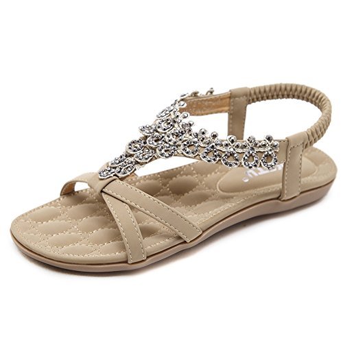 - Meeshine Women T-Strap Beaded Flower Gladiator Flat Dress Sandals Beach Shoes (7 B(M) US, Apricot 04)