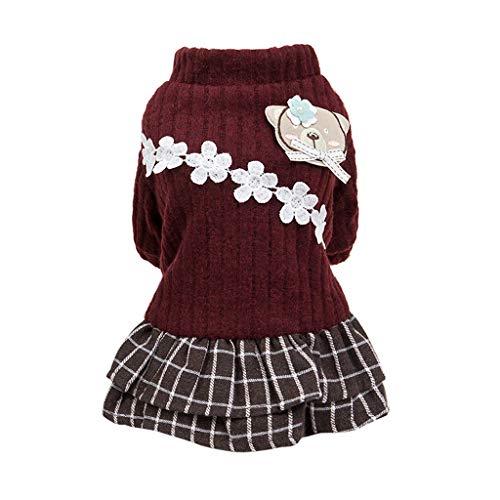 TOPBIGGER Puppy Dog Dress,Dogs Elegant Skirt Winter