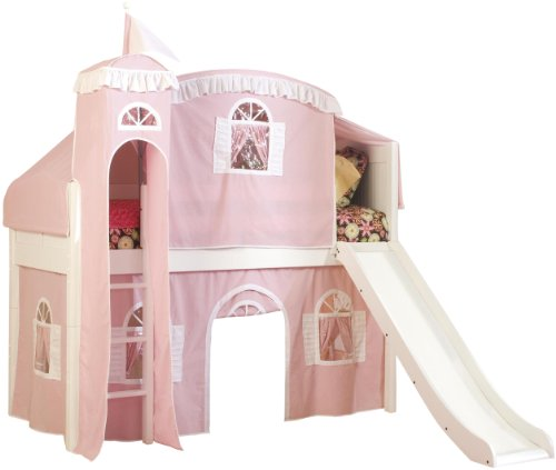 Bolton Furniture 9811500LT6PW Cottage Low Loft Castle Bed, White with Pink/White Top Tent, Bottom Playhouse Curtain, Tower and (Low Loft Castle)