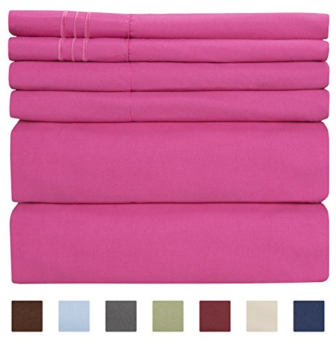 Queen Size Bed Sheet Set – White Sheets – Flat Sheet Fitted Sheet 4 Pillow Cases – Extra Deep Pockets – Microfiber – Softer Than Egyptian Cotton – Hotel Luxury Collection Bedding Sets – Wrinkle Free