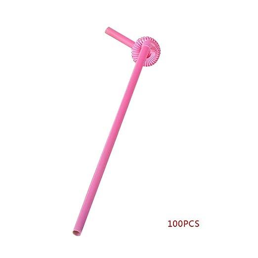 100pcs Plástico Flexible Flexible Desechable Paja pajitas ...