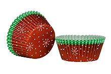 Premier Housewares – Moldes de Papel con diseño de Navidad para Cupcakes, Papel, Rojo y Verde, Set of 40
