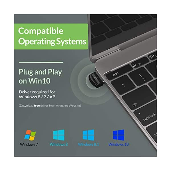 Avantree DG40S USB Bluetooth Adaptateur Dongle pour PC Windows 10, 8, 7, XP, Vista, Plug & Play ou Pilote IVT, pour…