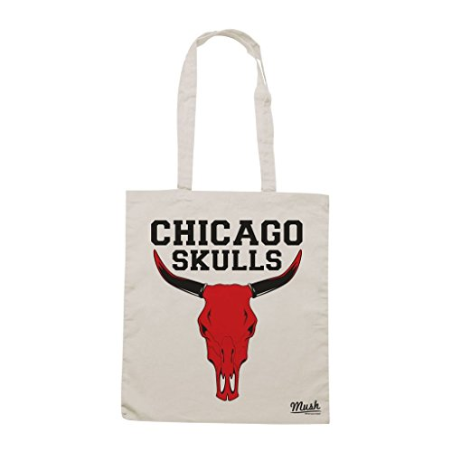 Borsa Chicago Skulls - Panna - Funny by Mush Dress Your Style