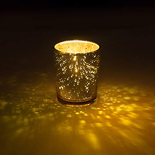 Homemory 12 PCS Gold Votive Candle Holders Bulk, Mercury Glass Tealight Candle Holders for Wedding, Parties, Holidays and Home Decor
