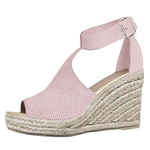Cuña De Zapatos Transpirable Casual Verano Romanas Sandalias Tacón Rosado Mujer Hebilla Sandals Peep Minetom Toe Plataforma Planas PB7wxwZ