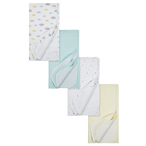 Gerber Baby 4-Pack Flannel Receiving Blanket, Clouds, 30