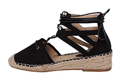 mujer y cordones de Zapatillas vacaciones plano Lona Alpargata playa bajo con B11 de Negro tacón Cuña SHU verano de de mujer para CRAZY R80xX0