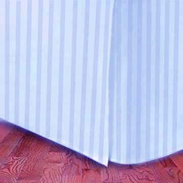 (300TC Egyptian cotton quality TWIN Bed Skirt STRIPE BLUE)