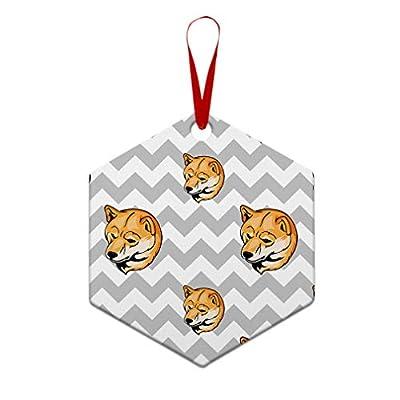 Style-In-Print-Custom-Holiday-Christmas-Ornament-Shiba-Inu-Dog-Gray-Zigzag-Aluminum