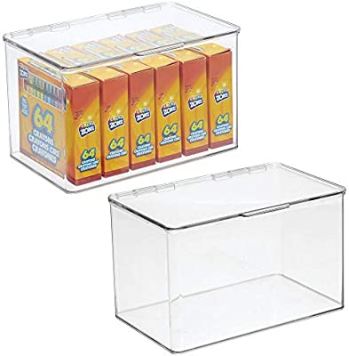 mDesign Juego de 2 cajas organizadoras – Cajitas de plástico medianas y apilables para artículos de manualidades y costura – Caja con tapa para hilos, telas, abalorios, etc. – transparente: Amazon.es: Hogar