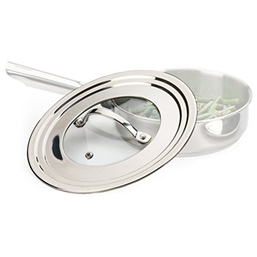 RSVP Endurance Stainless Steel 9 Inch Universal Lid with Glass Insert