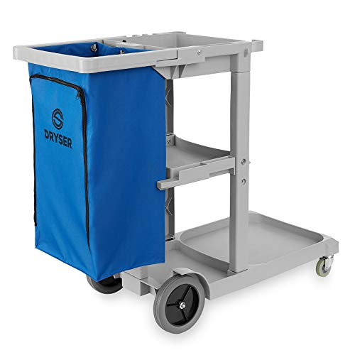 Dryser Commercial Janitorial Cleaning Cart on Wheels - Housekeeping Caddy with Shelves and Vinyl Bag