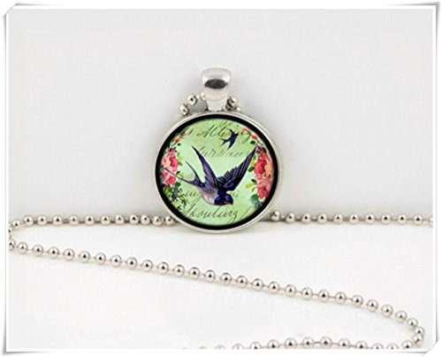 Leonid Meteor Shower Blue Bird Barn Swallow Bird and Vintage Floral Flowers Pendant Necklace,