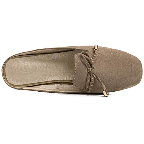 Backless On Women Gray 10 Eithy Shoes 5 Toe Slip Black Size Brown Mules Slippers Bow Apricot 5 Square Brown 5 Loafers wFxvqz5v0