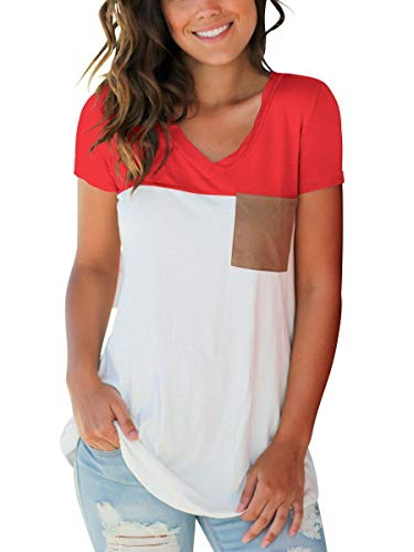 5 Pocket Hipster Jean - Junior Basic Plus Size T-Shirt Color Block Tee Top with Suede Pocket Red XXL