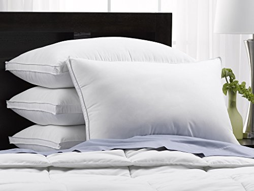 FIRM Exquisite Hotel Luxury Plush Down-Alternative Pillows 4-Pack, King Size, Gel-Fiber Filled, Hypoallergenic, Peachy FIRM Microfiber Gusseted shell - FIRM Density, Ideal For Side/Back Sleepers by Exquisite Hotel Collection (Image #2)'