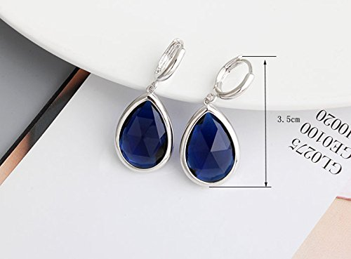 Teardrops blue Simulated Sapphire Zirconia Set Necklace 18 Earrings White Gold Plated Crystalline CR-AZ-0382