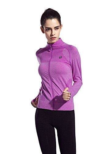 Long Sleeve Apparel Women's Running Shirt Full Zip Workout Jacket with Thumb Hole