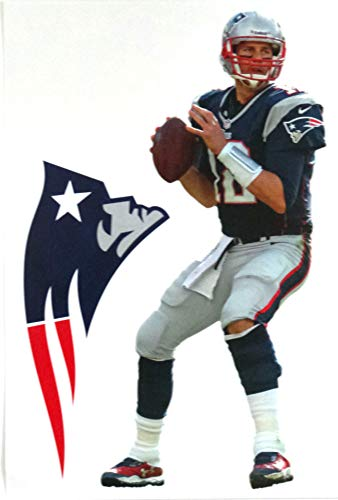 - FATHEAD Tom Brady Mini Graphic + New England Patriots Logo Official NFL Vinyl Wall Graphics - This Graphic is 7