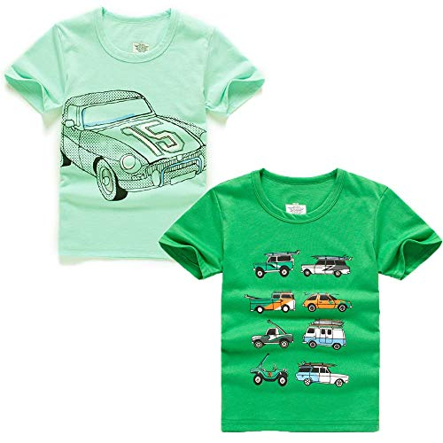 ZEBZOO Shirts for Kids Toddler Boys Cars Graphic Tees 2-Pack Cotton Short-Sleeve Clothes 4t