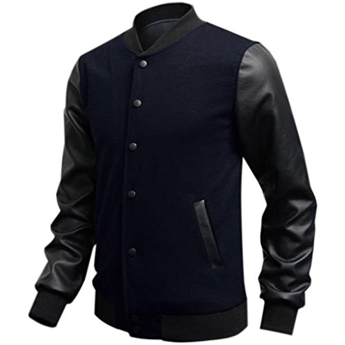 In Minetom Baseball Moda Cuciture Pelle Felpa Uomo Jacket College Pu Blu Scuro Giubbotto gwTzqgC