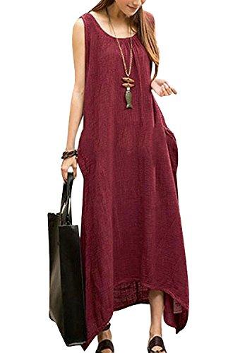 Minetom Mujer Vestido Largo Elegante Verano Fiesta De Playa Sin Mangas Cuello Redondo Atractivo Casual T Shirt Dress Camiseta Irregular Vino Rojo