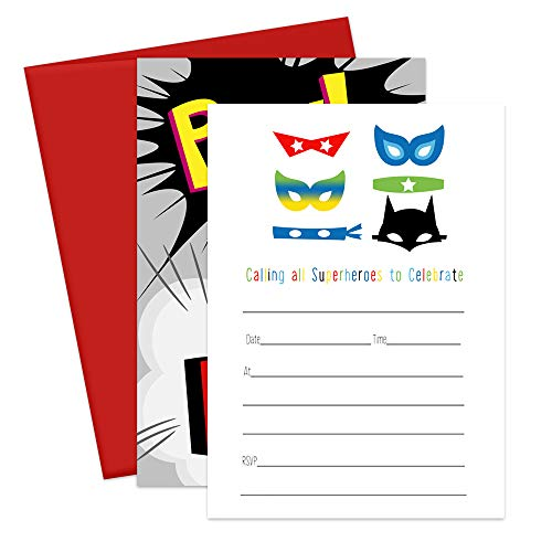Superhero Party Invitations and Envelopes - Set of 15]()