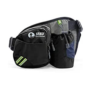 SEEU Multipurpose Waist Bag for Men and Women, Sports Travel Hip Bag with Water Bottle Holder and Cell Phone Pocket