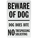 "SmartSign Aluminum Sign, Legend ""Beware of Dog-Dog Does Bite No Trespassing"", 18"" High X 12"" Wide, Black on White"