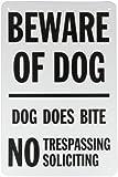 "SmartSign Aluminum Sign, Legend ""Beware of Dog - Dog Does Bite No Trespassing"", 18"" high x 12"" wide, Black on White"