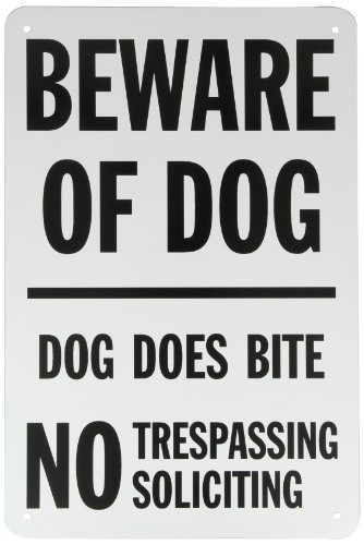 SmartSign Aluminum Sign, Legend 'Beware of Dog - Dog Does Bite No Trespassing', 18' high x 12' wide, Black on White