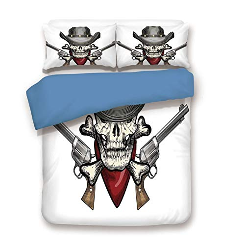 - Duvet Cover Set Full Size, Decorative 3 Piece Bedding Set with 2 Pillow Shams,Illustration of a Cool Skull Cowboy with Hat and Guns Wild West Symbol in Retro Grunge