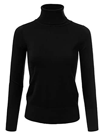 JJ Perfection Women's Stretch Knit Turtle Neck Long Sleeve Pullover Sweater Black S