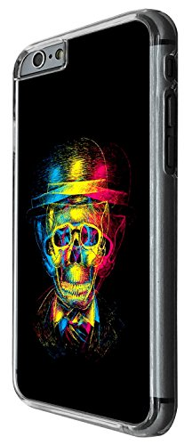 1483 - Cool Fun Trendy skull x-ray colourful skull tattoo Design iphone 6 Plus / iphone 6 Plus S 5.5'' Coque Fashion Trend Case Coque Protection Cover plastique et métal - Clear