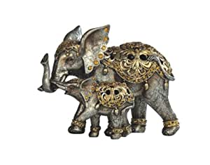 9Inch SilverThai Elephant and Baby Figurine