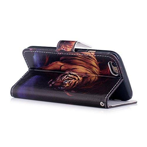 iPhone 6 / 6S Coque,Flammes de tigre Portefeuille Fermoir Magnétique Supporter Flip Téléphone Protection Housse Case Étui Pour Apple iPhone 6 / 6S + Deux cadeau