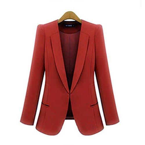 RS Womens Casual Basic Work Office Cardigan Tuxedo Blazer Boyfriend Jacket Wine Red (Womens Tuxedo Jacket)