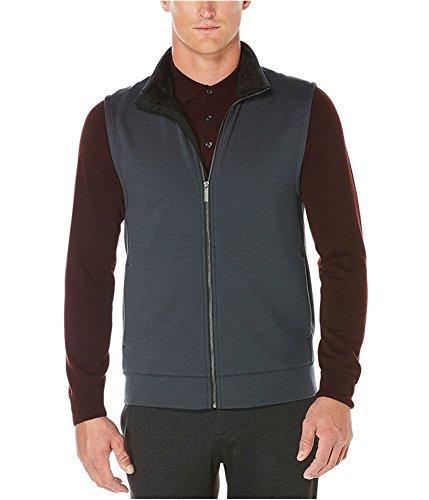 Perry Ellis Mens Textured Sweater Vest, Black, XX-Large