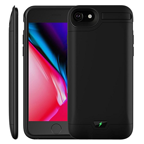 iPhone 7 Plus / 8 Plus Battery Case, MAXBEAR 8000mAh Extended Rechargeable Backup Charging Case Protective Power Bank with Kickstand for iPhone 7 Plus / 8 Plus (5.5 inch)-Black