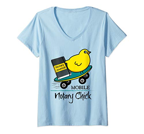Mobile Notary Chick Skateboard in Motion with Notarial Journal V-Neck T-Shirt