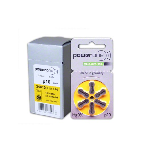 Varta 60 x Powerone p10 Mercury Free hearing aid battery by Power One (Image #2)