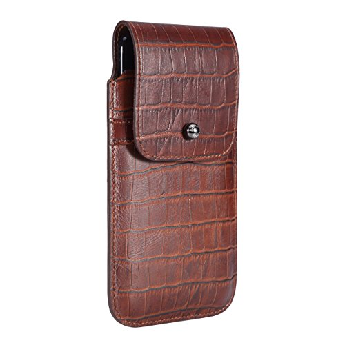 Blacksmith-Labs Barrett 2017 Premium Genuine Leather Swivel Belt Clip Holster for Apple iPhone 7 Plus for use with no cases or covers - Rustic Brown Croc Embossed Cowhide/Gunmetal Belt Clip