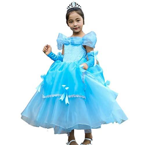 Girls Halloween Costume Belle Aurora Cinderella Dress Up Party Cosplay ()