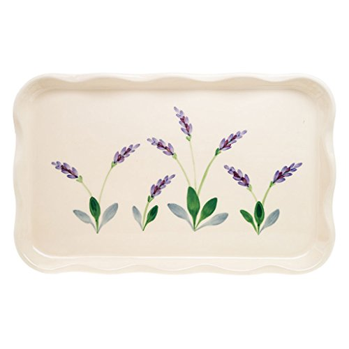 14 Inch Stoneware Serving Tray by Arousing Appetites - Cream White Rectangular Ceramic Platter for Coffee, Tea and Appetizers with Decorative Design