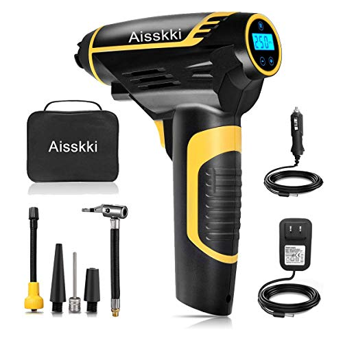Aiskki Automatic Cordless Tire Inflator, 2 IN1 Portable Hand Held Air Compressor with Tire Pressure Gauge,12V 150PSI for Tire, Ball, Air Cushion