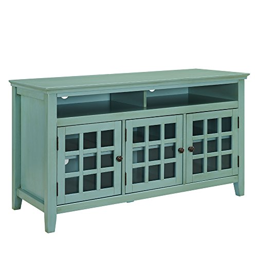 Linon AMZN0284 Reed Distressed Turquoise Media Cabinet,