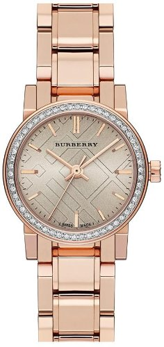 Burberry Rose Dial Diamond-set Bezel Rose Gold-tone Ladies Watch BU9225