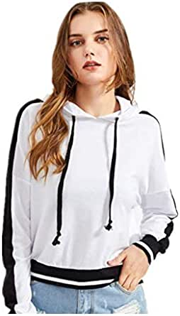 Europe and the United States autumn and winter grey color matching hooded sweatershirt for lady