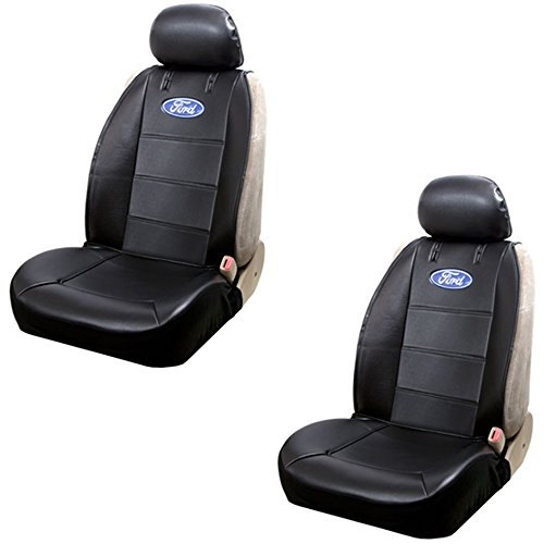 Ford Blue Oval Logo Car Truck SUV Sideless Armrest Side Airbag Compatible Polyvinyl Front Low Back Bucket Seat Covers - PAIR